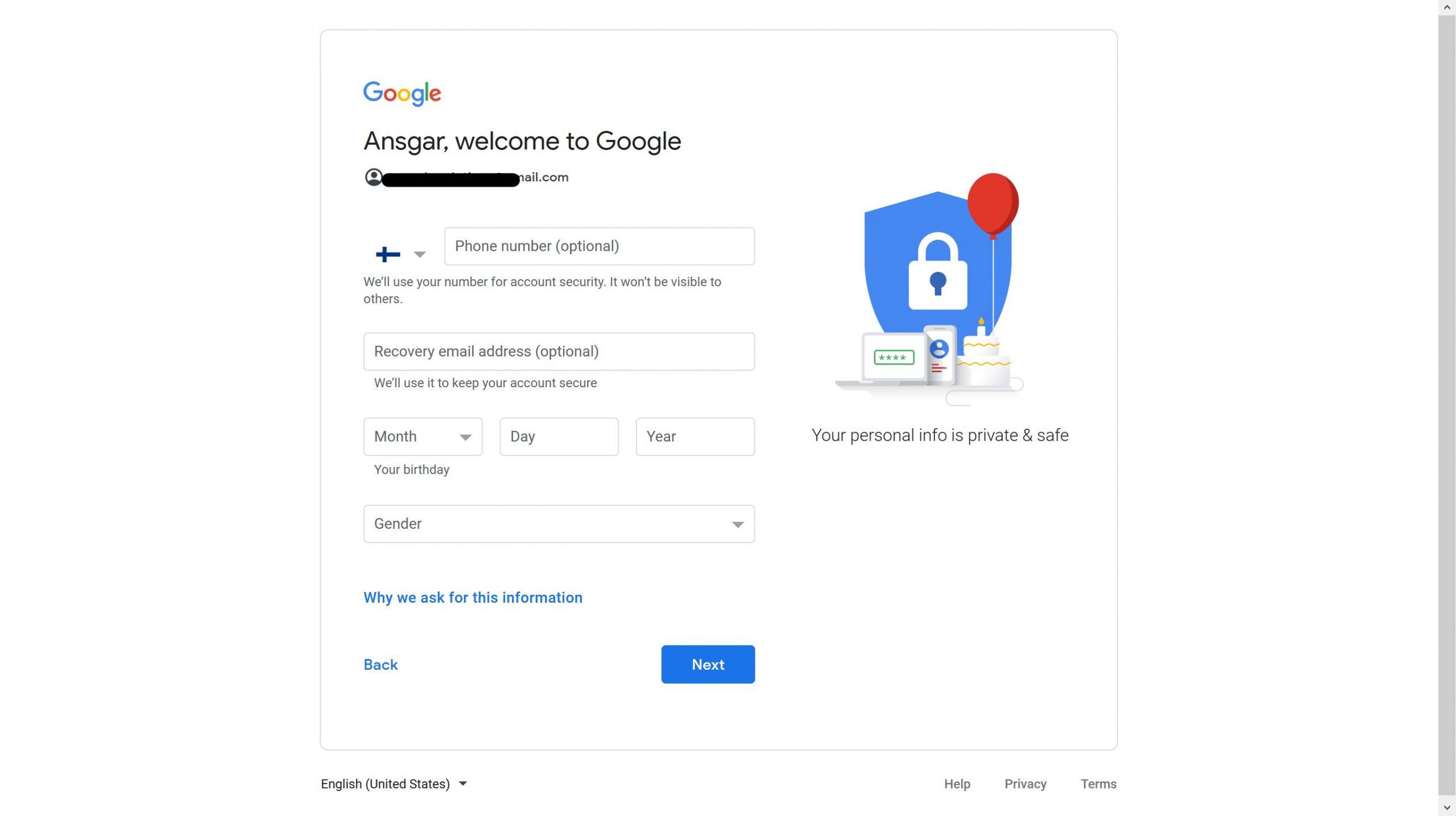 Google Account Step 4