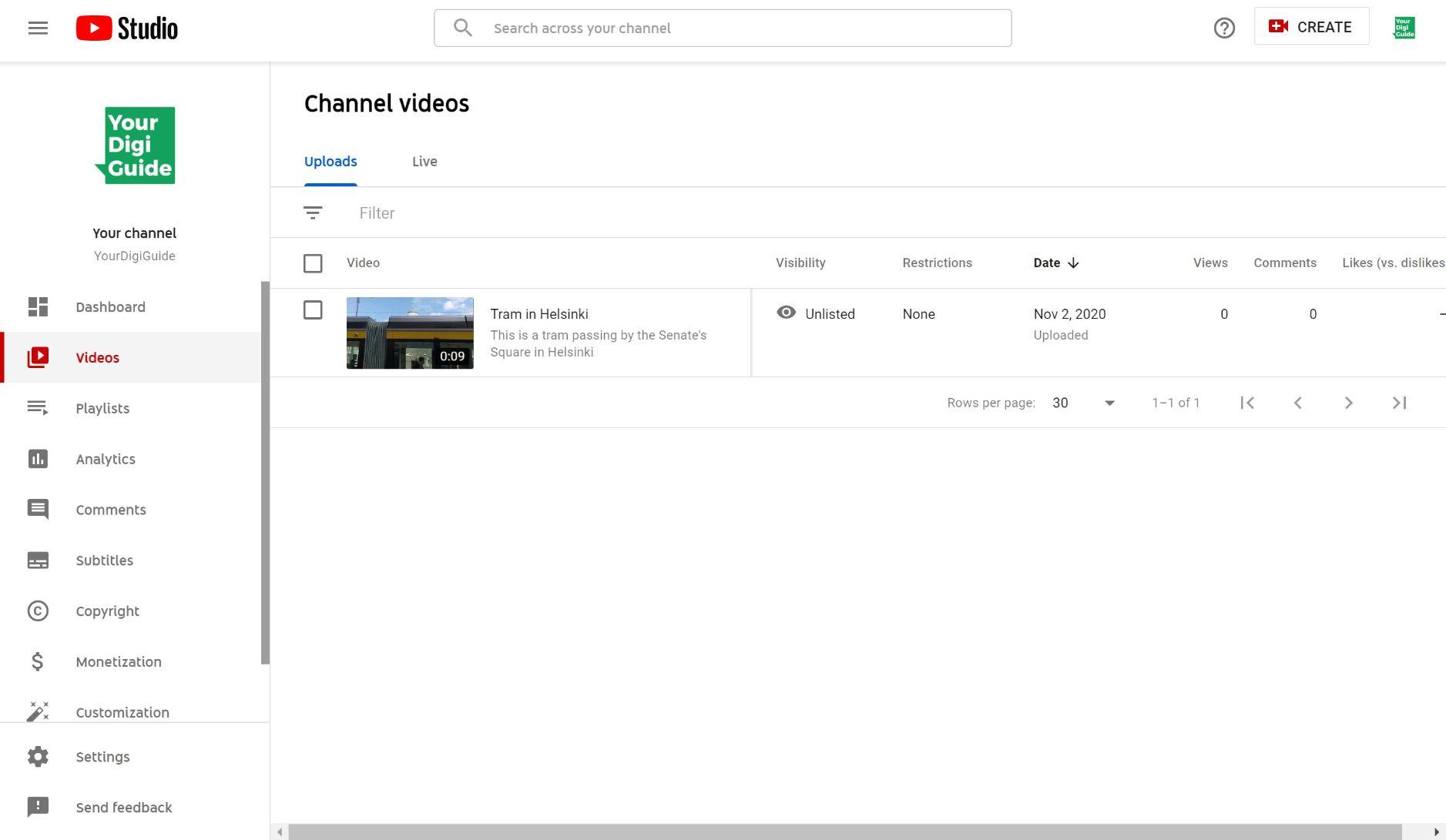 Videos in YouTube Studio
